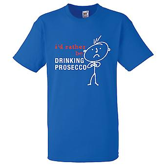 Mens eu preferia beber Prosecco azul Royal Tshirt