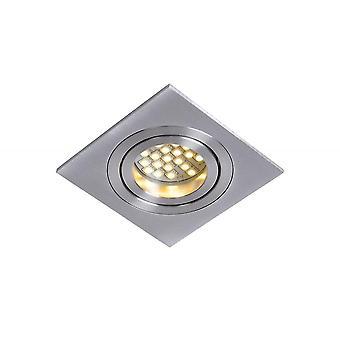 Lucide Tube Modern Square Aluminum Satin Chrome Recessed Spot Light