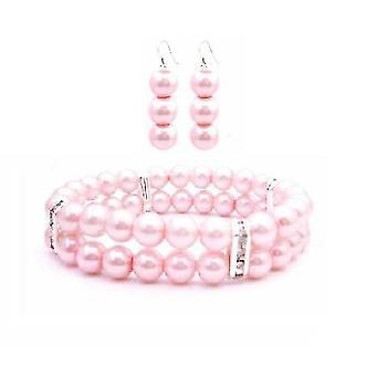 Damigella d'onore regalo rosa rosa perle incagliato doppio bracciale orecchini Set