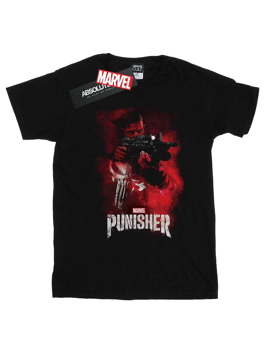 Marvel Women's The Punisher TV Series Red Smoke Boyfriend Fit T-Shirt