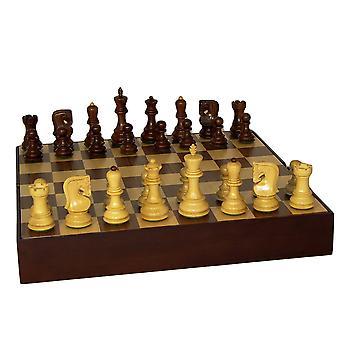 Sheesham russe ancien Chess Set avec coffre noyer