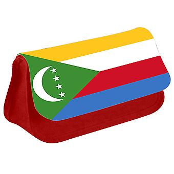 Comoros Flag Printed Design Pencil Case for Stationary/Cosmetic - 0038 (Red) by i-Tronixs