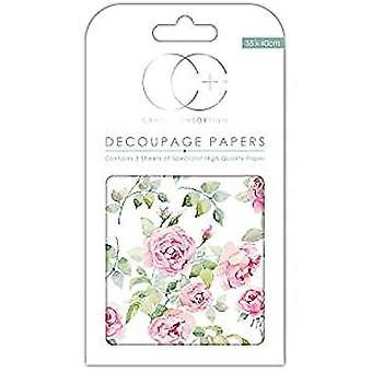 Craft Consortium Bloom Of Roses Decoupage Papers (CCDECP261)