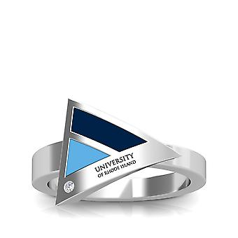 University of Rhode Island graviert Sterling Silber Diamant geometrische Ring in blau und Himmel blau