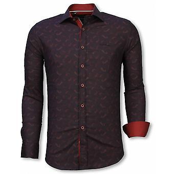 E Shirts - Slim Fit - Yang Pattern - Bordeaux