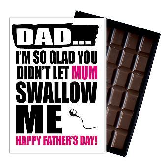 Funny Father's Day Regalo Tonto Chocolate Presente Rude Tarjeta para Papá DADIYF108