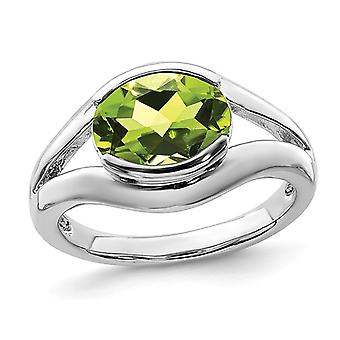 Natural Peridot Ring 2.60 Carat (ctw) in Sterling Silver