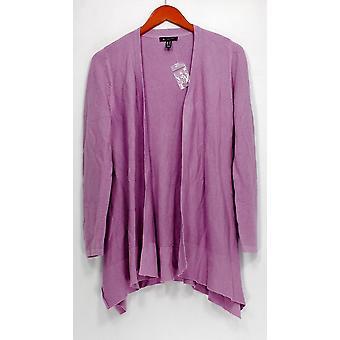 H de Halston suéter pañuelo de manga larga Hem Open Front Purple A303195