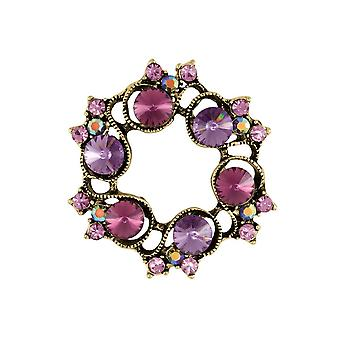 Eternal Collection Violette Purple Crystal Gold Tone Brooch