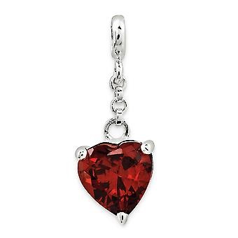 925 Sterling Silver Polished Dark Red CZ Cubic Zirconia Simulated Diamond Love Heart 1/2inch Dangle Enhancer Charm Penda