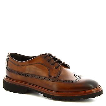 ليوناردو أحذية النساء & ق الدانتيل المصنوعة يدويا المنبثقة brogues الأحذية في جلد العجل براندي