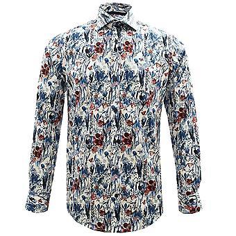 Guia London Tulip e borboleta jardim impressão Pure Cotton Mens shirt