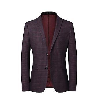 Allthemen Men's Autumn&Spring Blazer Two-Button Plaid Business Casual Suit Jacket