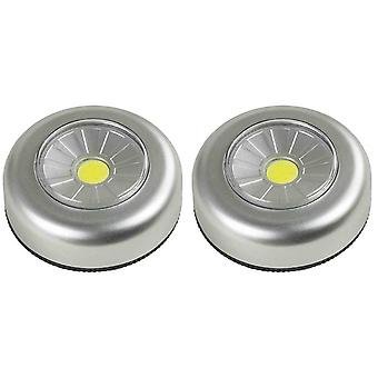 2X Arcas Push Light COB LED + 6x AAA Batterien