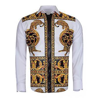 Oscar Banks Baroque Leopard Print Mens Shirt