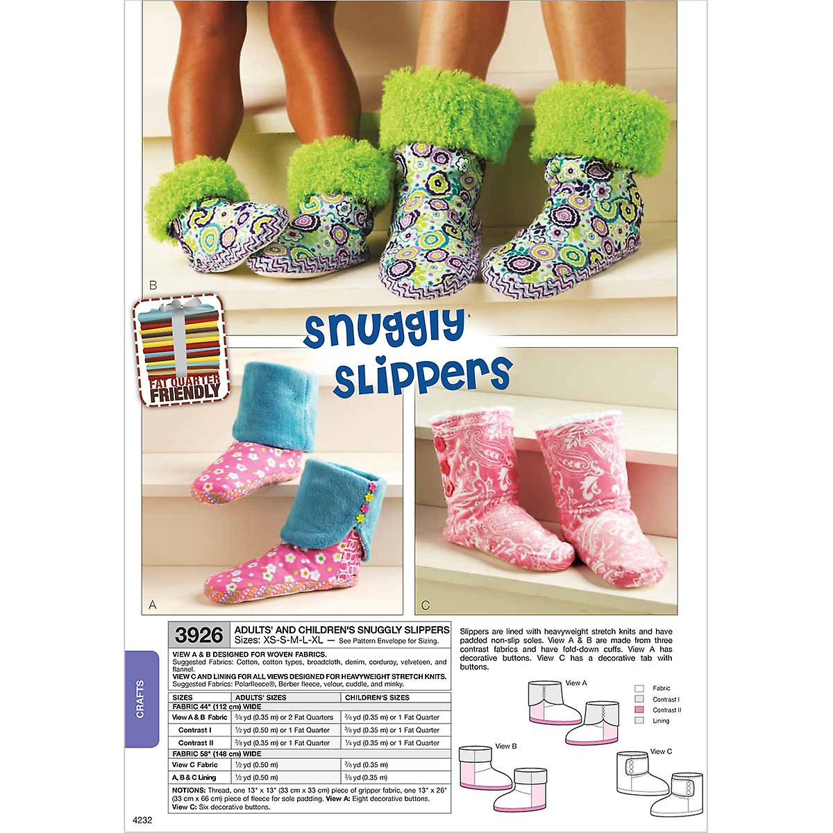 McCall Pattern Snuggly Slippers Adult & Children Xs S M L Xl P...