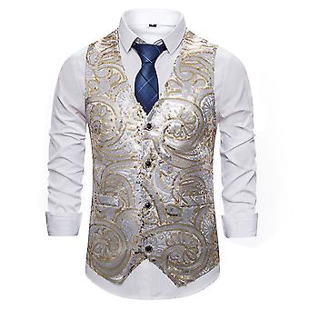 Allthemen Men鈥檚 Casual Gorgeous V-neck Singel-breasted Patterned Sequined Suit Vest