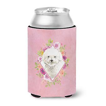Carolines Schätze CK4263CC Bichon Frise rosa Blumen Dose oder Flasche Hugger