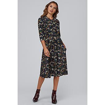 Louche Marva Forest Floral Midi Dress Black