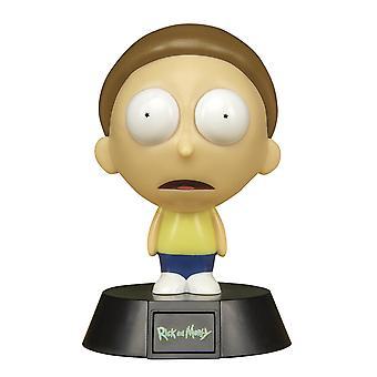 Rick og Morty mini lampe Morty sort/hvid/turkis, trykt, lavet af plastik, i gave emballage.