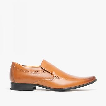 Front Sultan Mens Leather Pointed Slip-on Shoes Tan