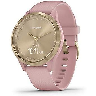 Garmin Vivomove 3S Hybrid Smartwatch with Real Watch Hands and Hidden Touchscreen Display - Dust Rose Silicone with Light Gold Hardware