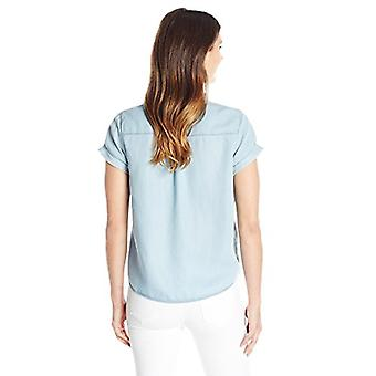 Khakis & Co Dames Dames's Short Sleeve Denim Tie, Light Bleach Wash, Size Medium