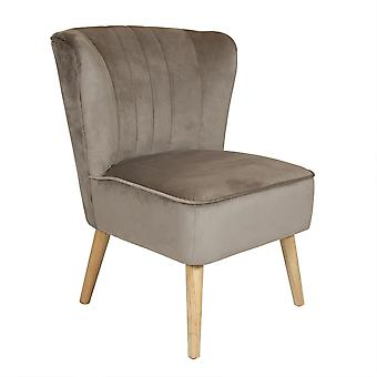 Charles Bentley Velvet Upholstered Pleated Retro Wingback Occasion/Lounge/Hallway/Bedroom Chair Taupe