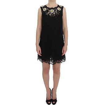 Rochie de cristal Dolce & Gabbana Black Lace Shift Sicily