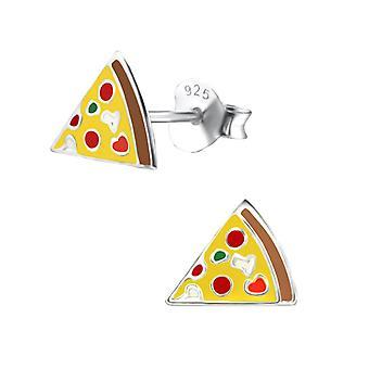 Children's Sterling Silver Pizza Slice Stud Earrings