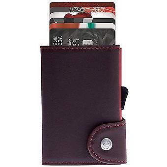 C-Secure Prestige Leather Limited Edition Single Card Holder Wallet - Auburn/Coral