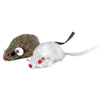 Trixie Rato Plush Rattle com 5 polegadas, 2 Unidades, Bl. / Cinza