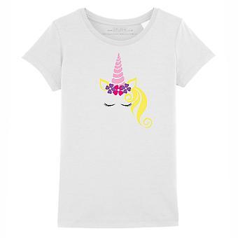 STUFF4 Girl's Round Neck T-Shirt/Pretty Unicorn Face/White