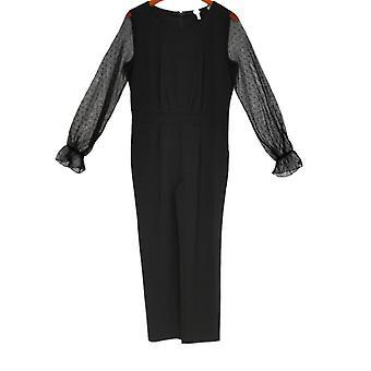 Du Jour Jumpsuits Mesh Sleeve Slim Leg Black A345756