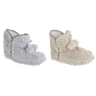 Slumberzzz Womens/Ladies Fluffy Textured Pom Pom Slipper Boots