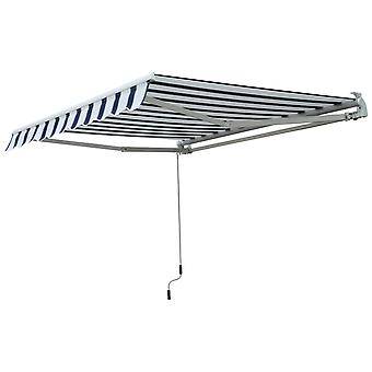Outsunny 2.5 x 2 m Garden Patio Manual Awning Canopy Sun Shade Shelter with Winding Handle - Blue and White
