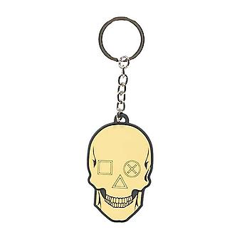 Playstation Keyring Keychain Biker Skull Logo new Official Black Rubber