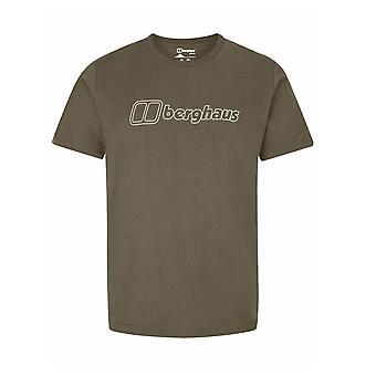 Berghaus Big Outline Logo Mens Short Sleeve Casual T-Shirt Tee Khaki