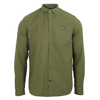 Lyle & scott uomini's camicia di lino di cotone verde lichene