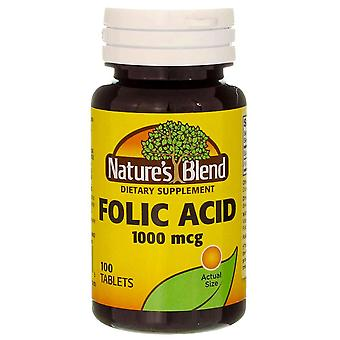 Nature's blend folic acid, 1000 mcg, tablets, 100 ea