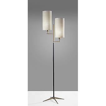 "17.5"" X 12.5"" X 69.75"" Brass Metal Floor Lamp"