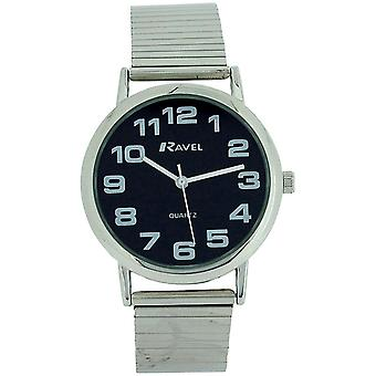 Ravel Gents Stainless Steel Soft Expandable Bracelet Strap Watch R0208.03.1