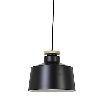 Hanging Lamp Neina Disk Wood Black
