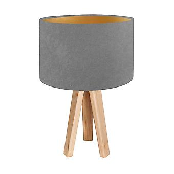 Lámpara de mesa lámpara de mesa gris de gamuza T Jalua y oro con tres patas de madera H: 47 cm 10753