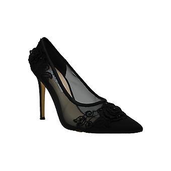 NINA Women's Donela Black Luster Satin/Rose Applique/Mesh 6.5 M US M