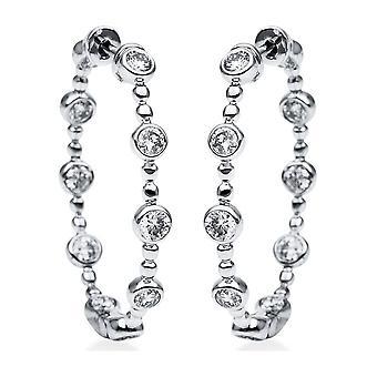 Diamond Earrings Earrings - 18K 750/- White Gold - 1.07 ct. - 2H460W8-1