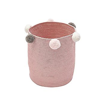 Cotton woven storage basket with handle