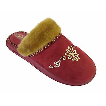Coolers Womens Floral Embroidered Microsuede Mule Slippers