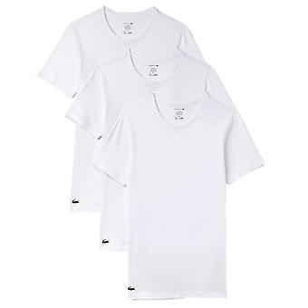 Lacoste Essentials Collection 3 Pack Slim Fit Crew Neck T-Shirts - White