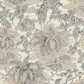 Vanity Fair Tropical Impresión Diseño Fondo Papel Pintado Crema/Beige Rasch 526141